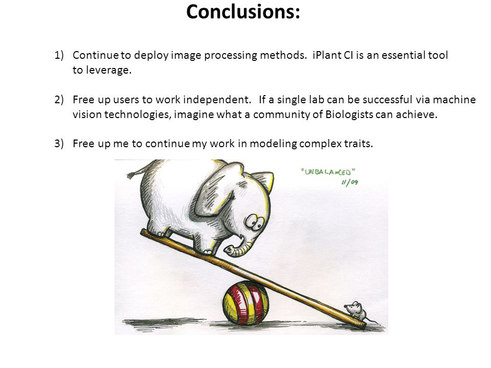 Conclusions: Continue to deploy image processing methods. iPlant CI is an essential tool to leverage.