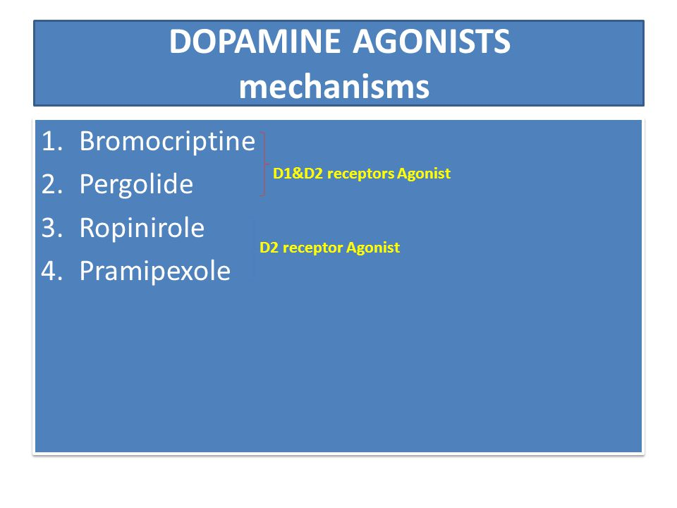 DOPAMINE AGONISTS mechanisms