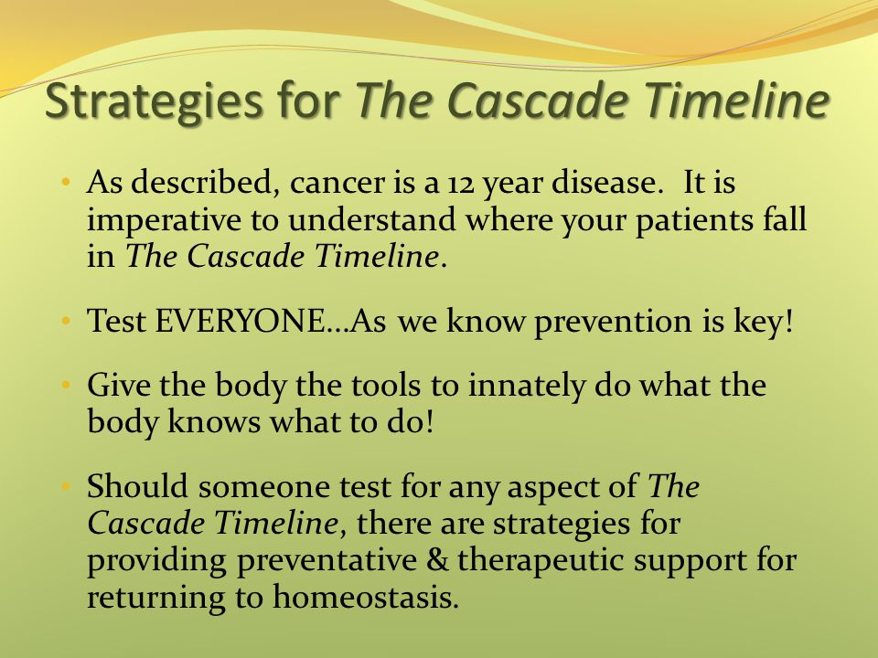 Strategies for The Cascade Timeline