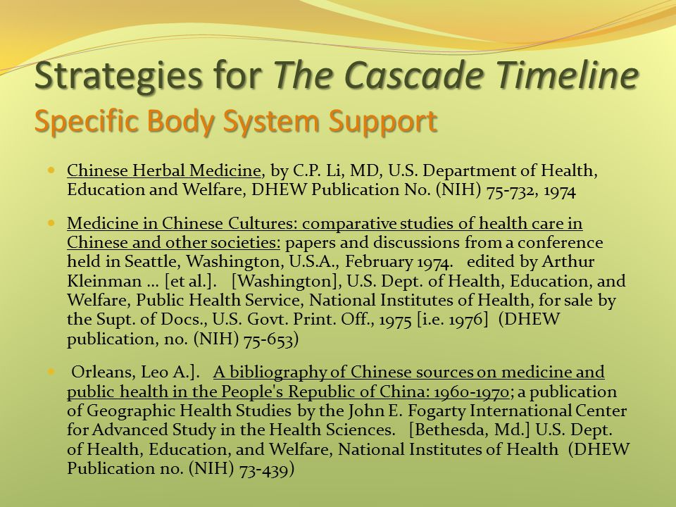 Strategies for The Cascade Timeline Specific Body System Support