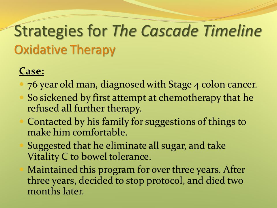 Strategies for The Cascade Timeline Oxidative Therapy