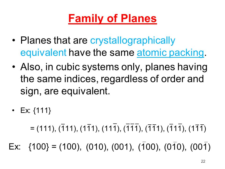 Family of Planes Planes that are crystallographically equivalent have the same atomic packing.