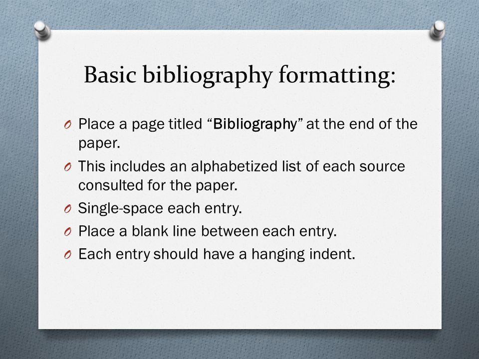 Basic bibliography formatting: