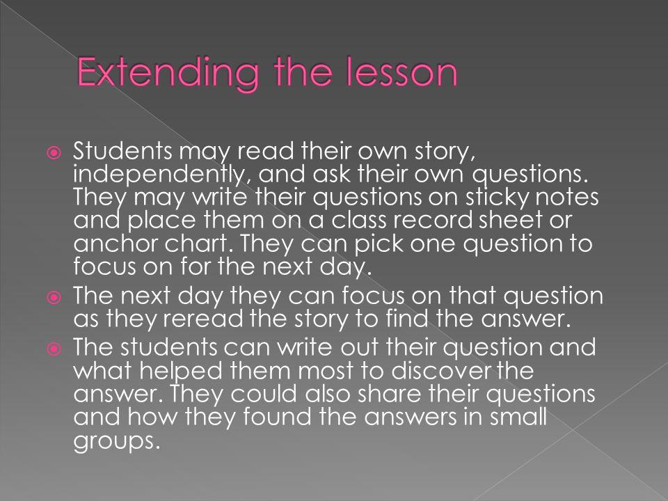 Extending the lesson