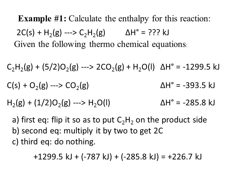 Example #1: Calculate the enthalpy for this reaction: