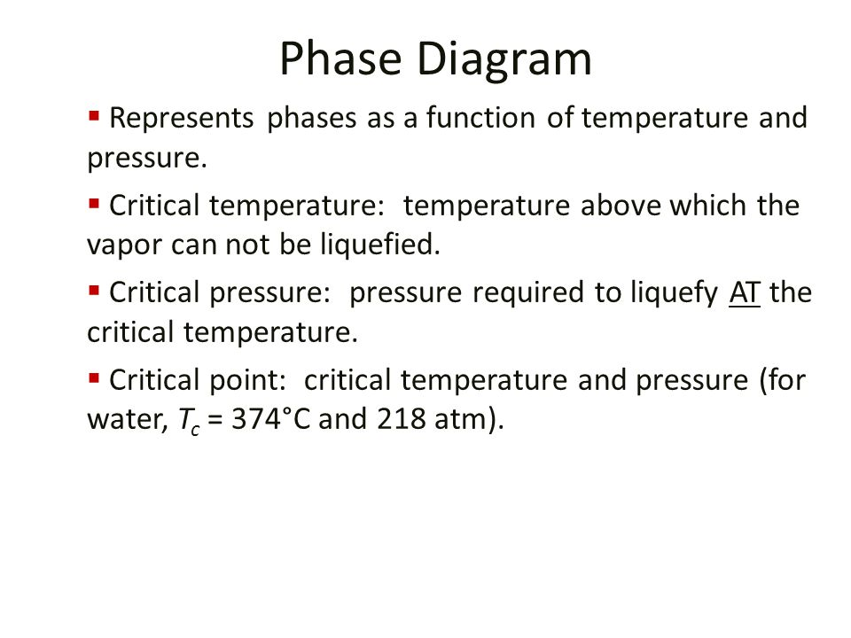 Phase Diagram Represents phases as a function of temperature and pressure.
