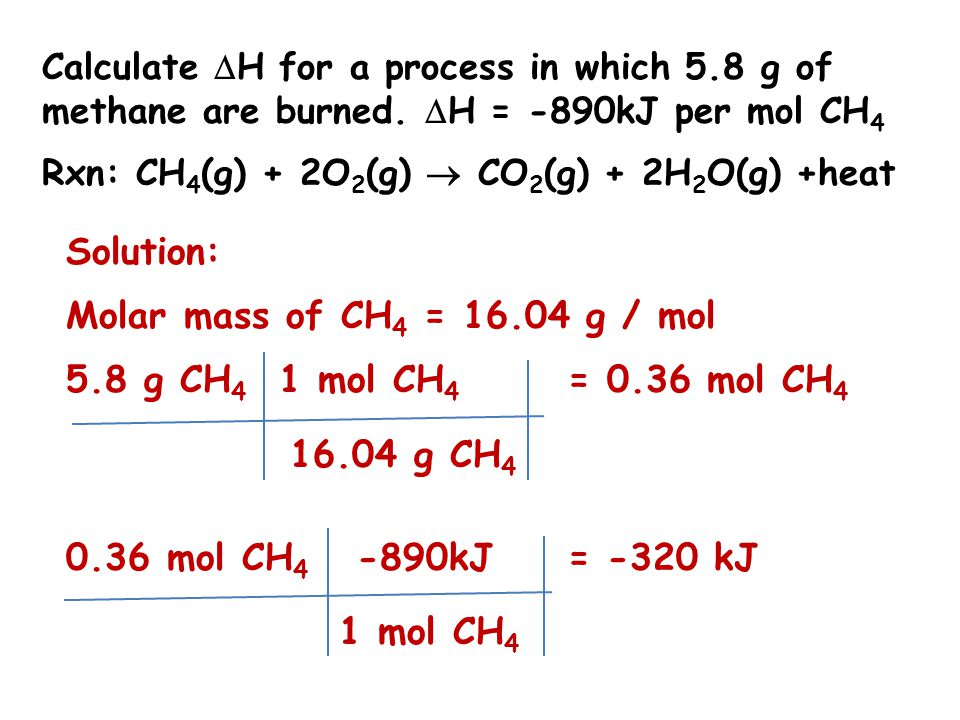 Solution: Molar mass of CH4 = 16.04 g / mol