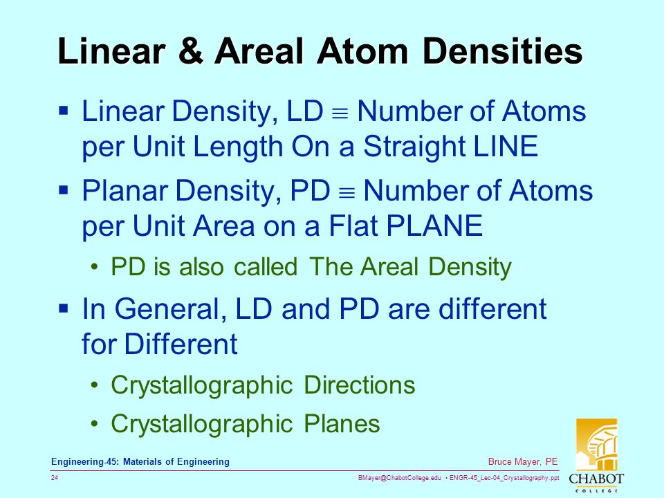 Linear & Areal Atom Densities