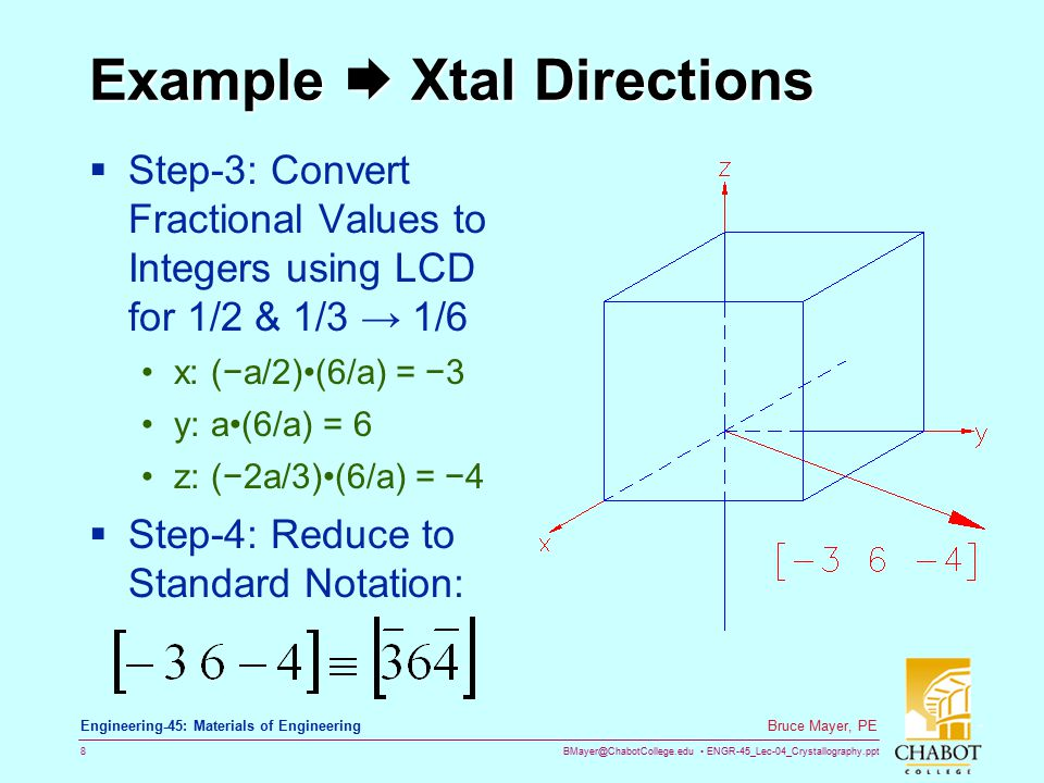 Example  Xtal Directions