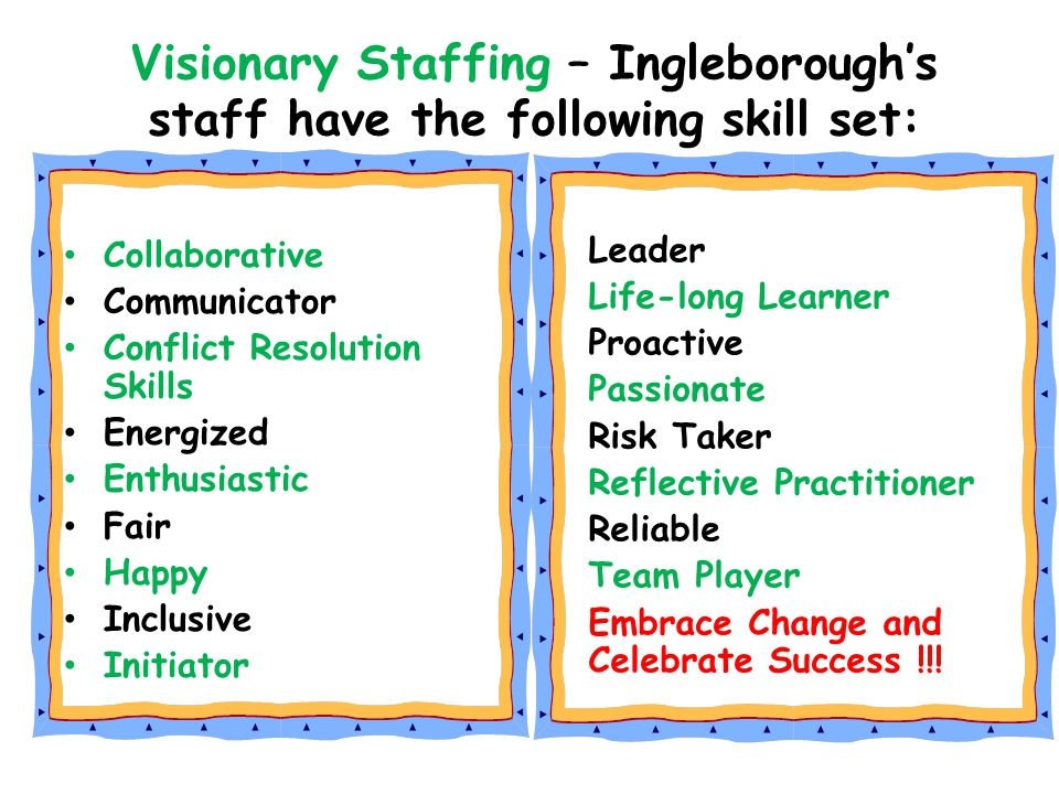 Visionary Staffing – Ingleborough's staff have the following skill set: