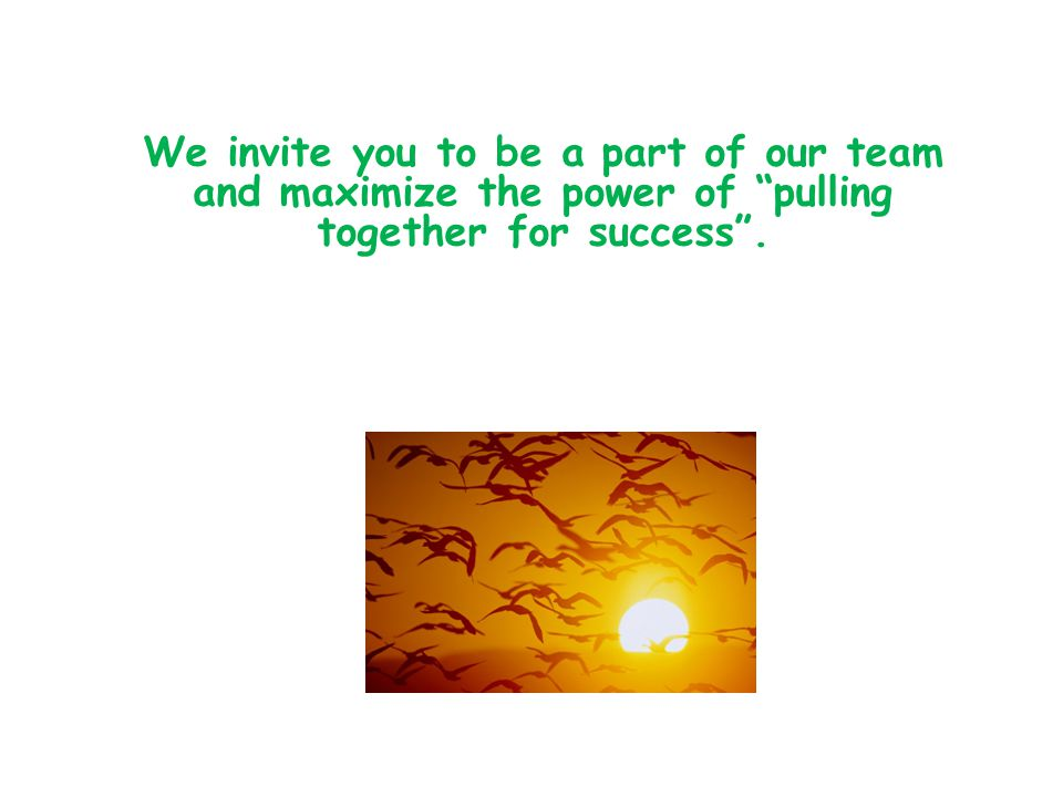 We invite you to be a part of our team and maximize the power of pulling together for success .