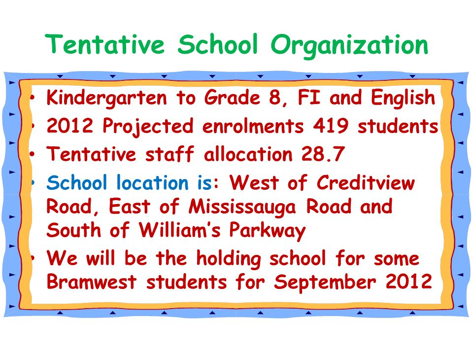 Tentative School Organization