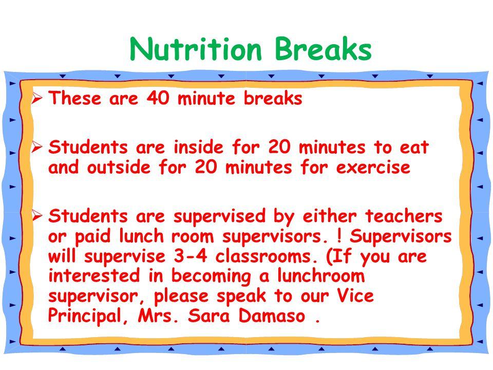 Nutrition Breaks These are 40 minute breaks