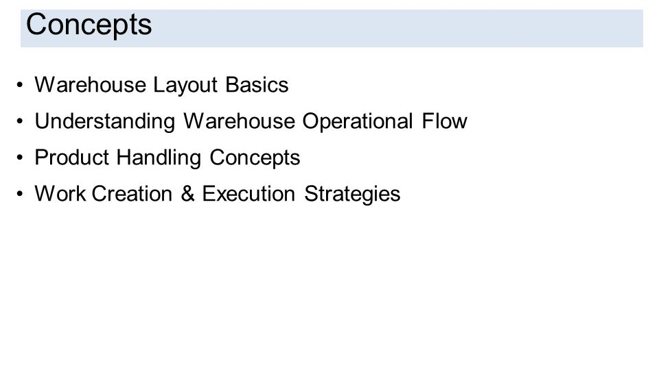Introduction Concepts Warehouse Layout Basics