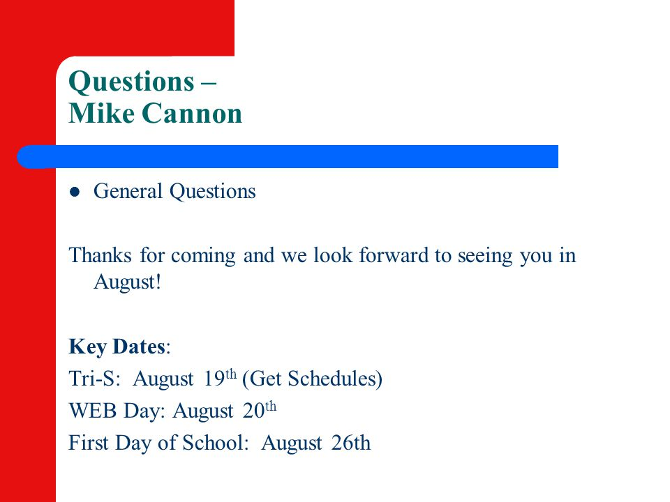 Questions – Mike Cannon