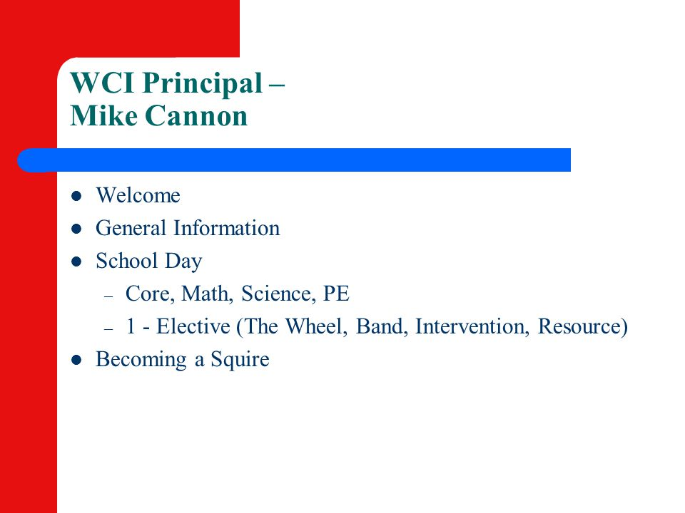 WCI Principal – Mike Cannon
