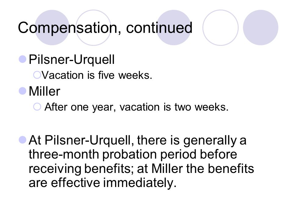 Compensation, continued