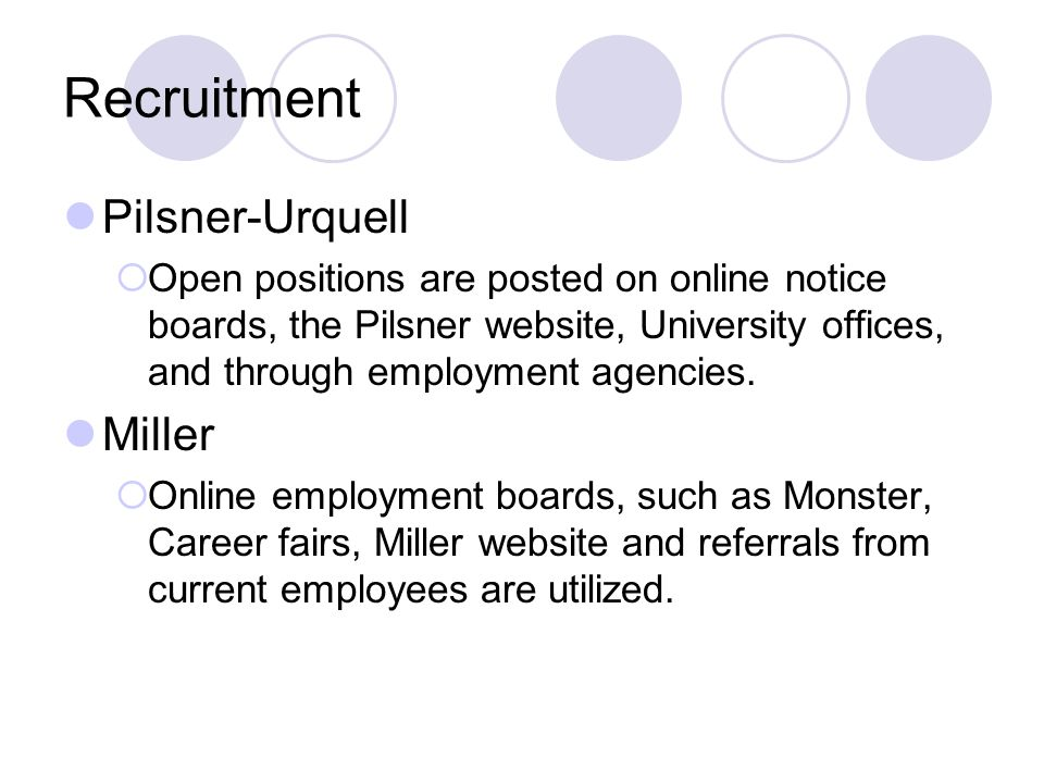 Recruitment Pilsner-Urquell Miller