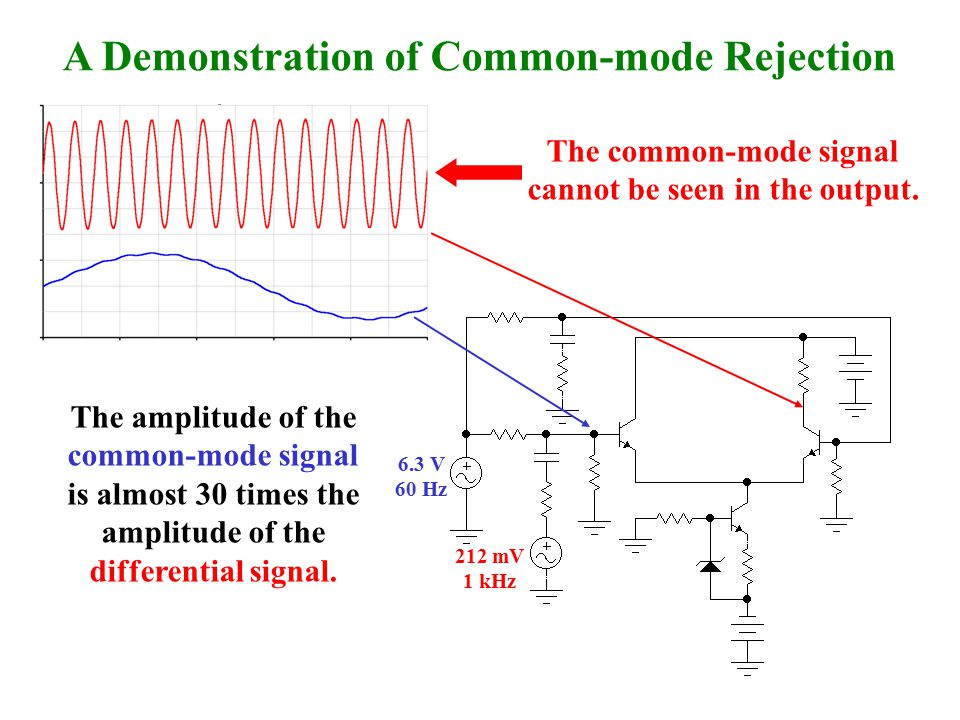 The common-mode signal cannot be seen in the output.