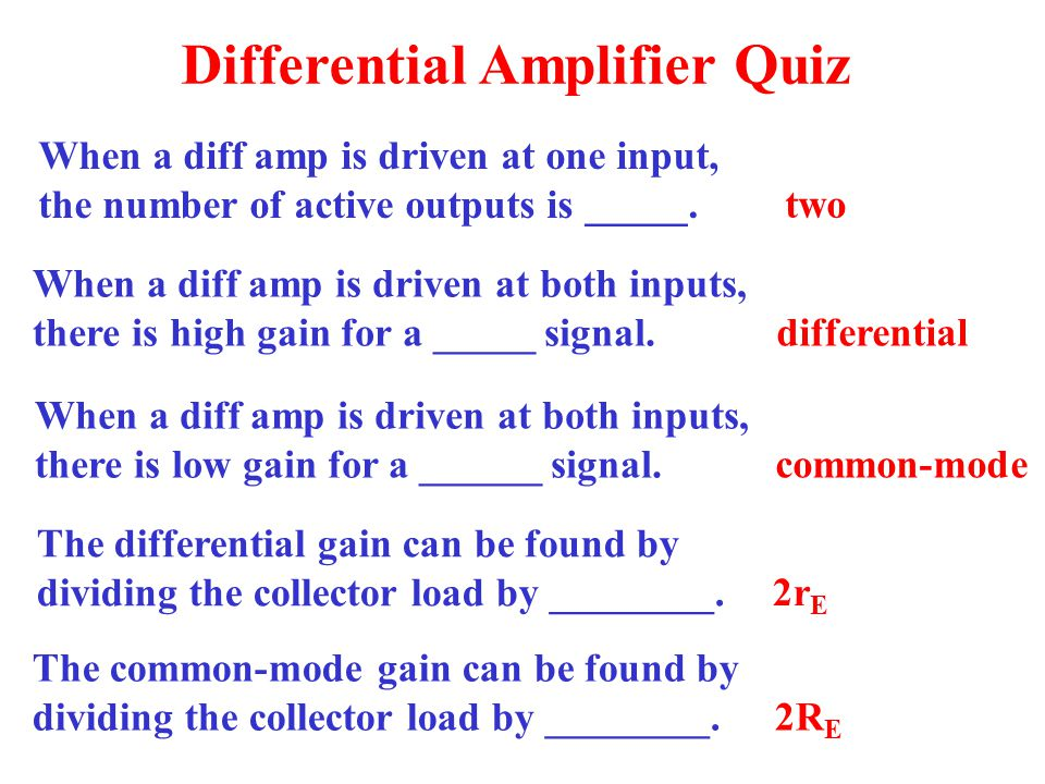 Differential Amplifier Quiz
