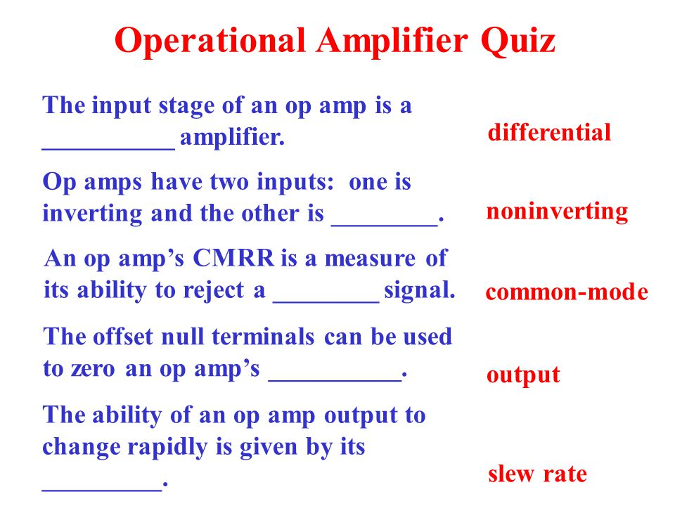 Operational Amplifier Quiz