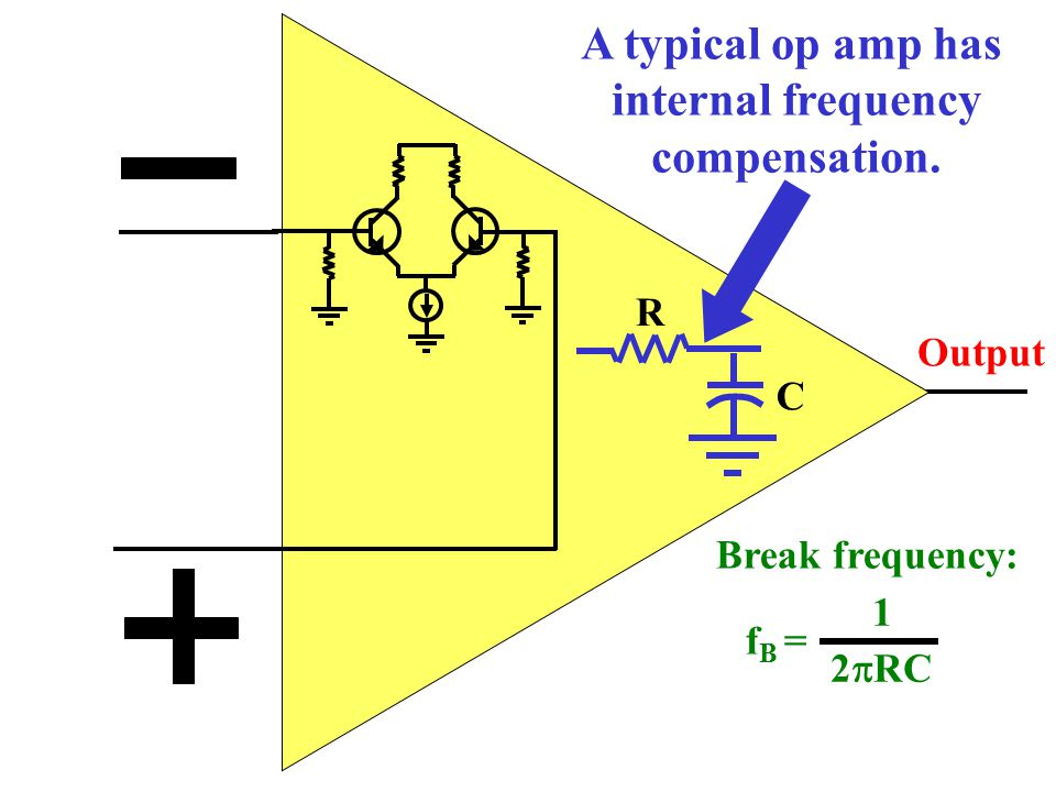 A typical op amp has internal frequency compensation.