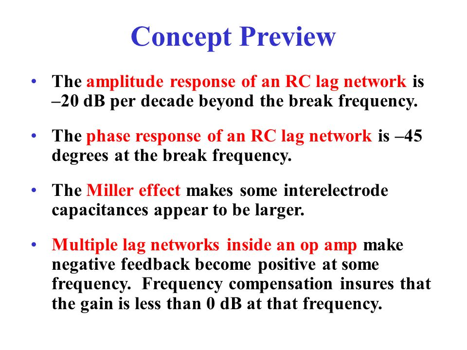 Concept Preview The amplitude response of an RC lag network is –20 dB per decade beyond the break frequency.