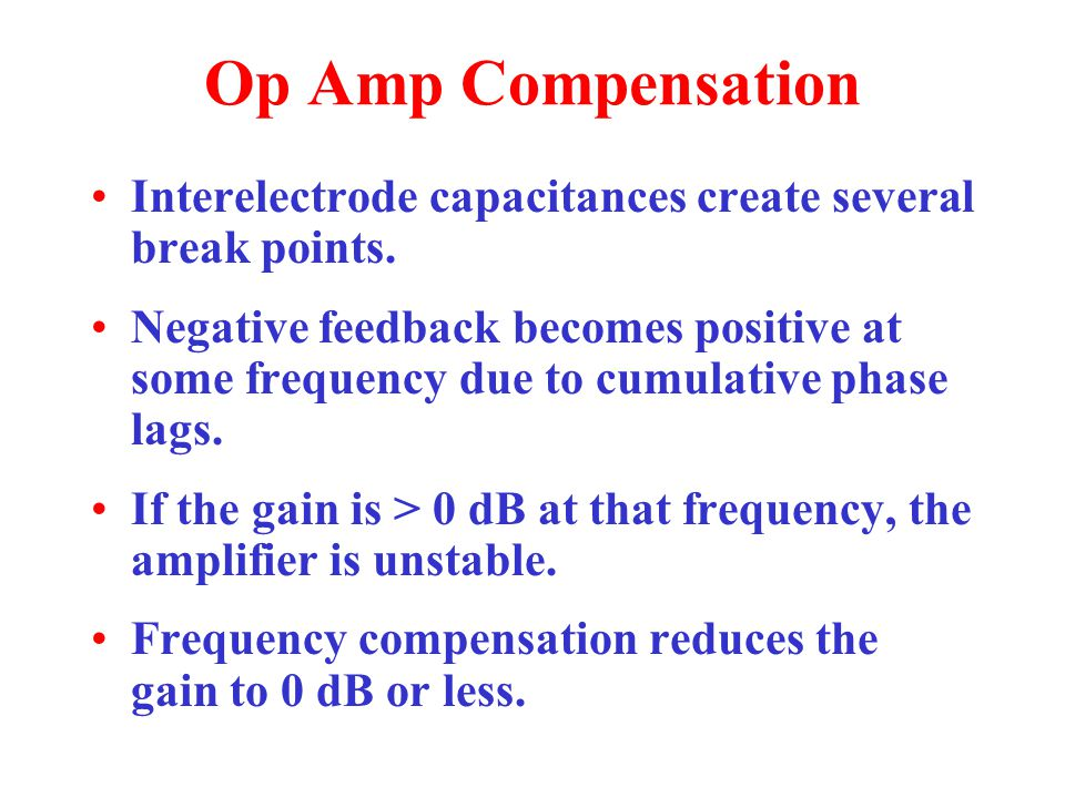 Op Amp Compensation Interelectrode capacitances create several break points.