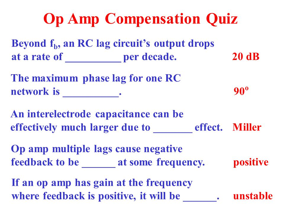 Op Amp Compensation Quiz