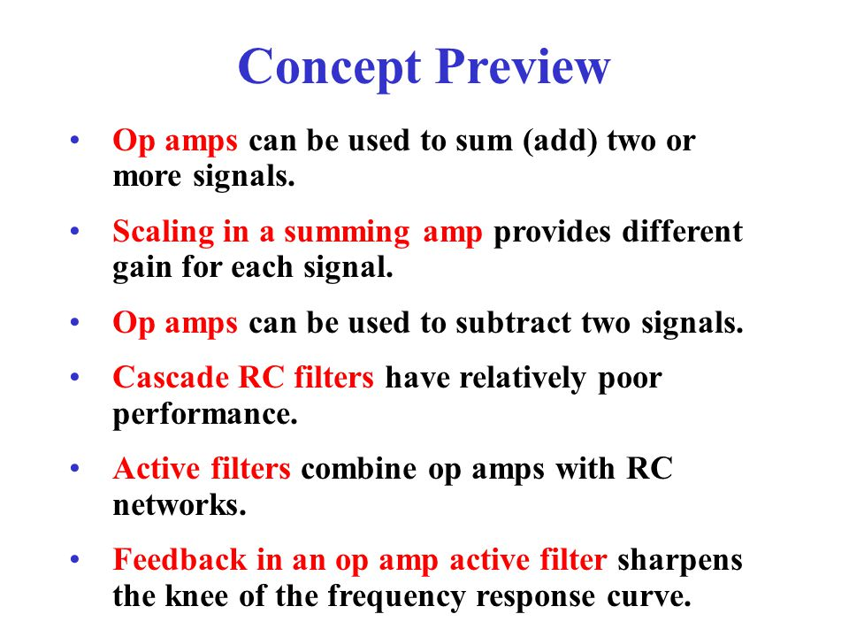 Concept Preview Op amps can be used to sum (add) two or more signals.