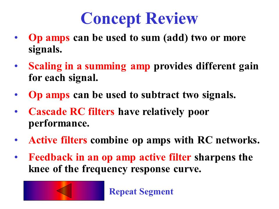 Concept Review Op amps can be used to sum (add) two or more signals.