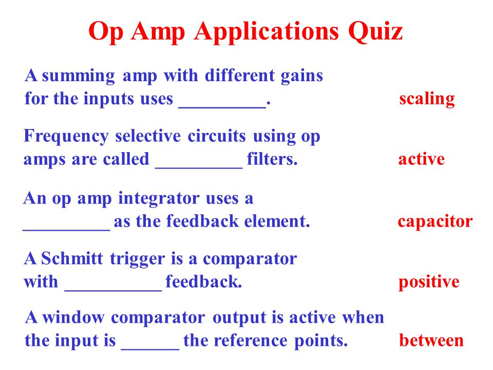 Op Amp Applications Quiz