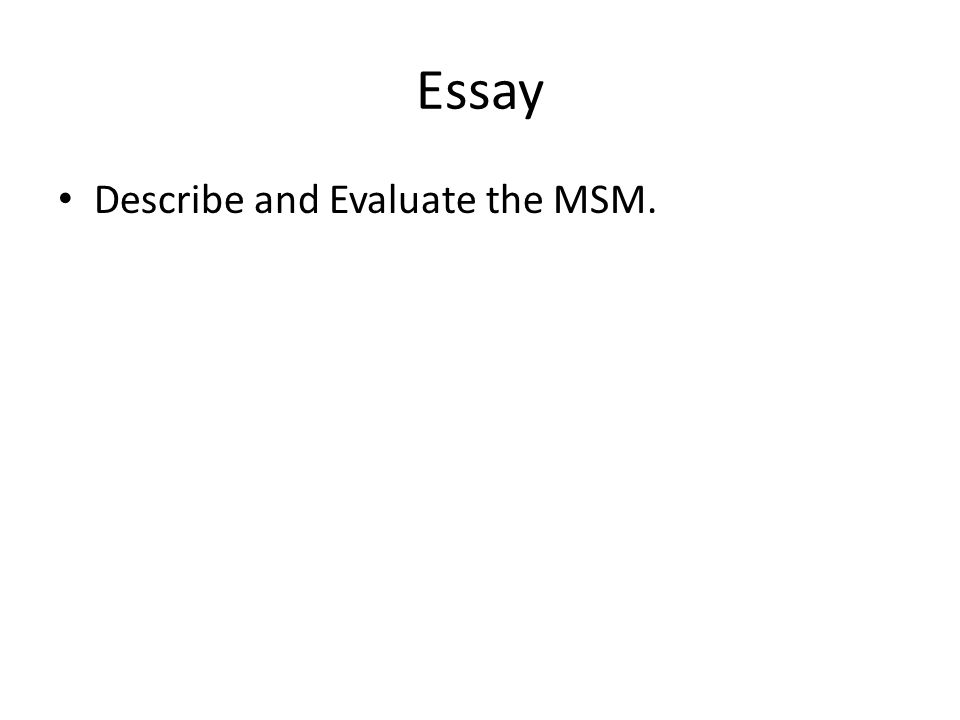 Essay Describe and Evaluate the MSM.