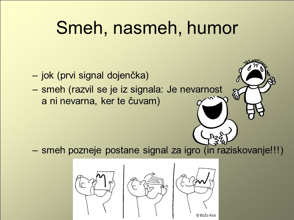 Smeh, nasmeh, humor jok (prvi signal dojenčka)
