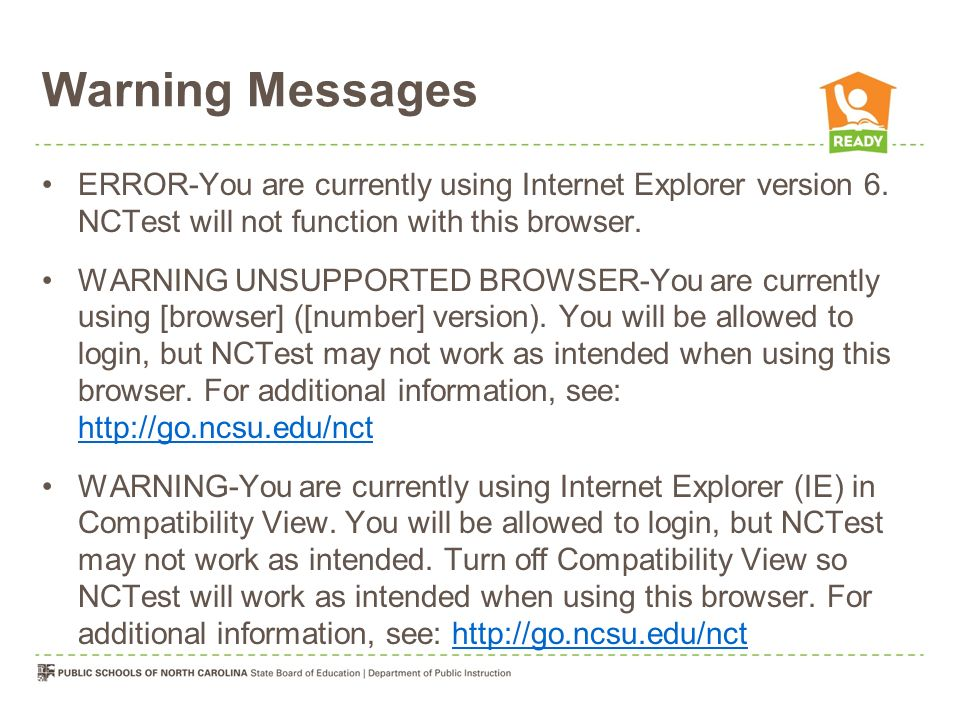 Warning Messages ERROR-You are currently using Internet Explorer version 6. NCTest will not function with this browser.