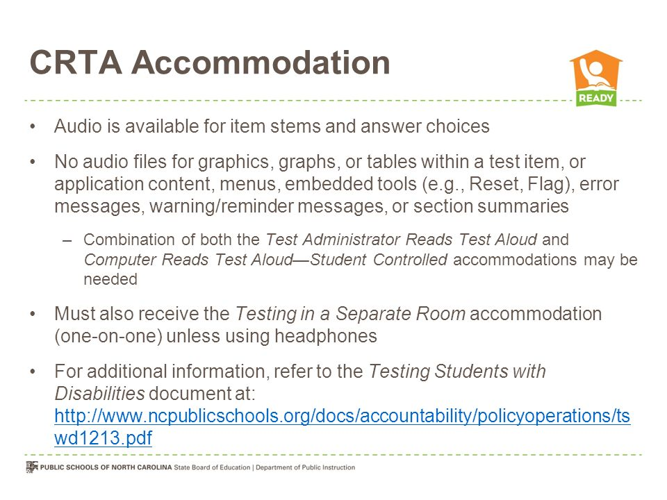 CRTA Accommodation Audio is available for item stems and answer choices.