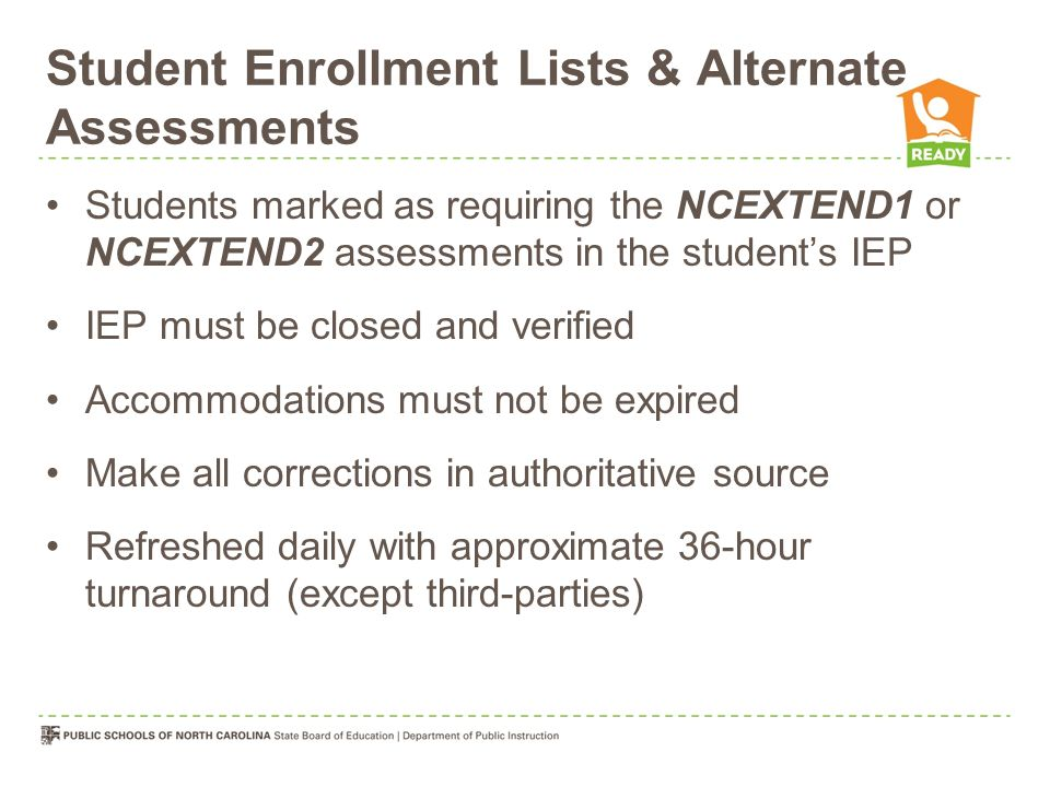 Student Enrollment Lists & Alternate Assessments