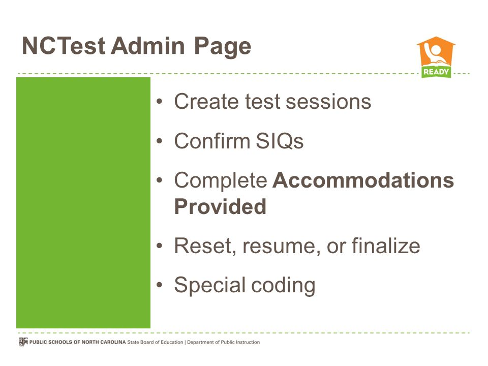 NCTest Admin Page Create test sessions Confirm SIQs
