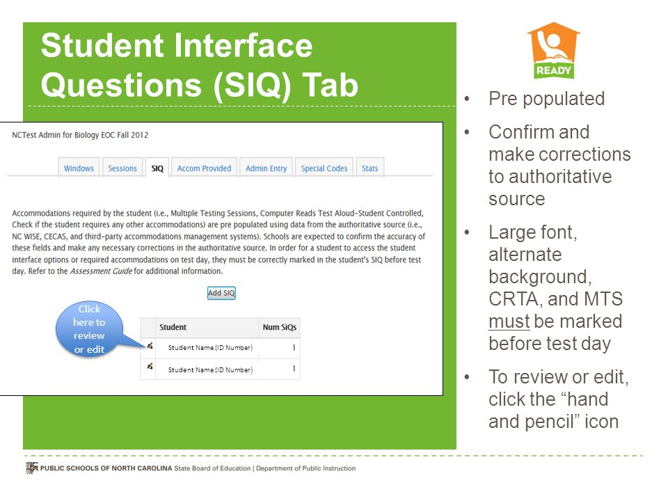 Student Interface Questions (SIQ) Tab