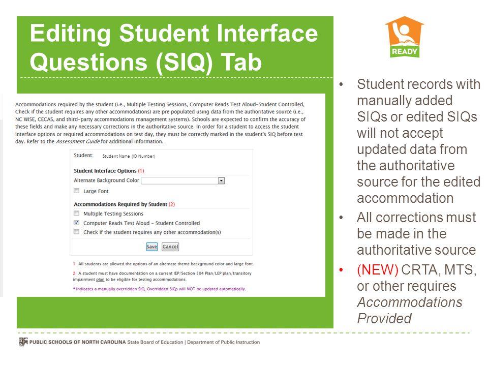 Editing Student Interface Questions (SIQ) Tab