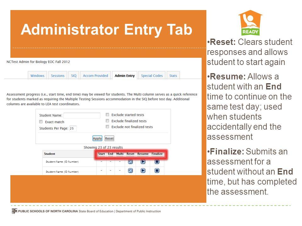 Administrator Entry Tab