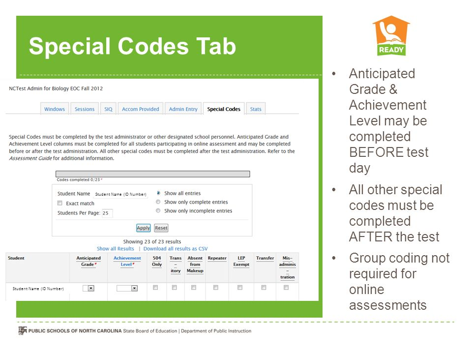 Special Codes Tab Anticipated Grade & Achievement Level may be completed BEFORE test day.