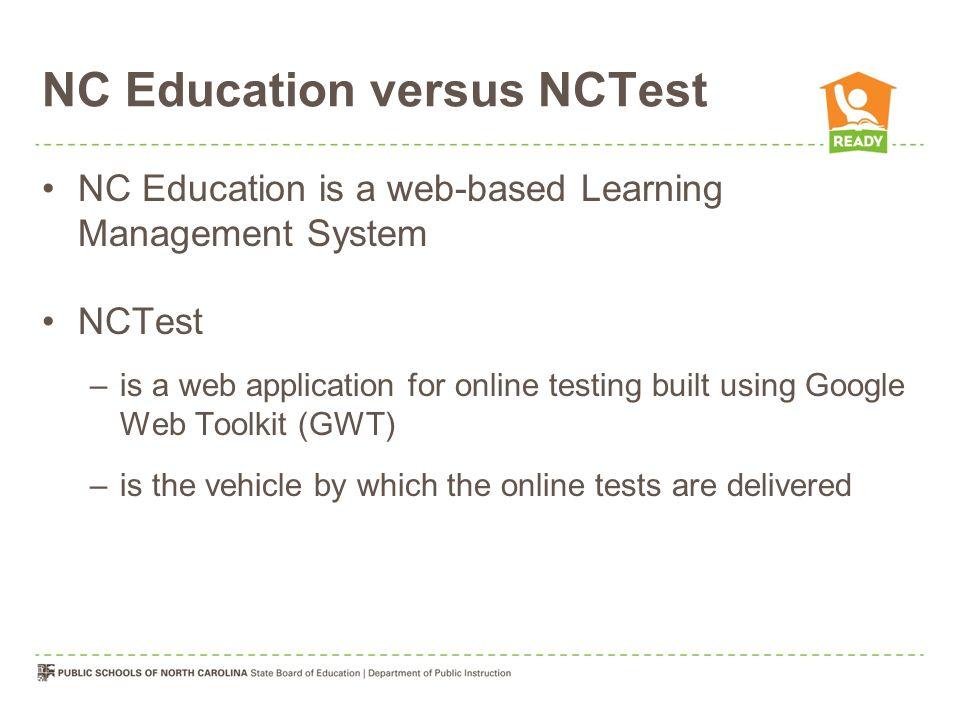NC Education versus NCTest