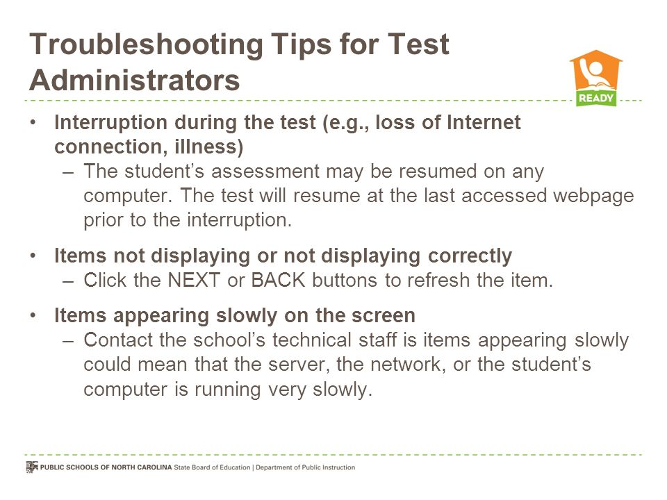 Troubleshooting Tips for Test Administrators