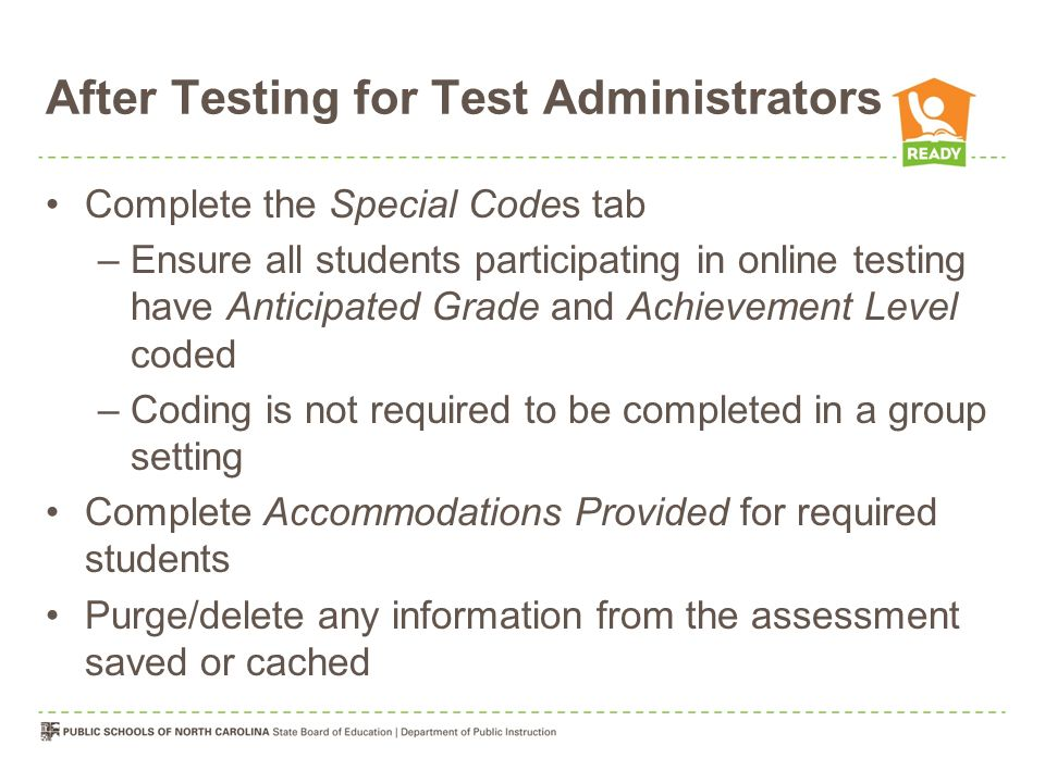 After Testing for Test Administrators