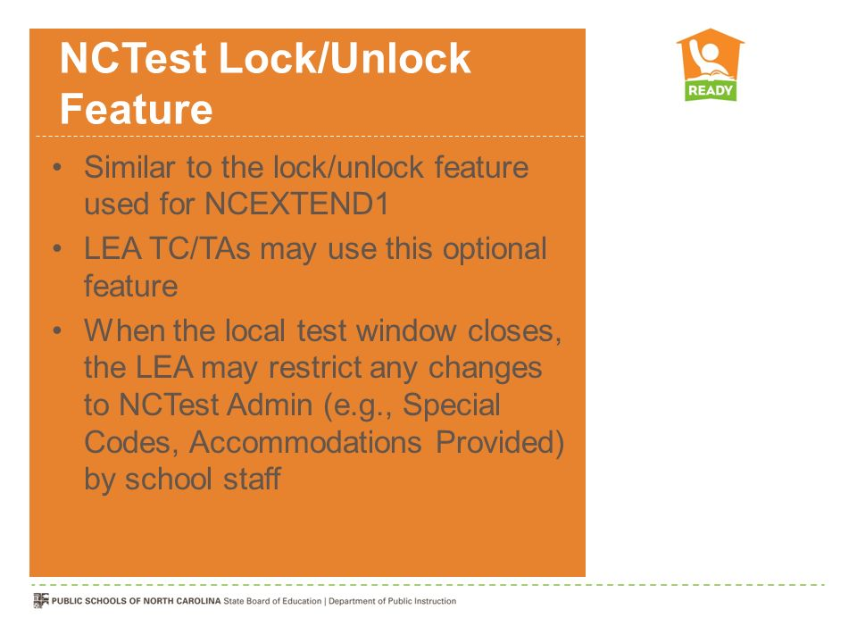 NCTest Lock/Unlock Feature