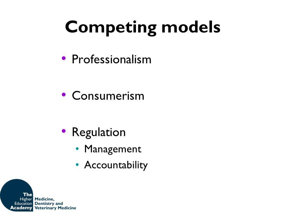 Competing models Professionalism Consumerism Regulation Management