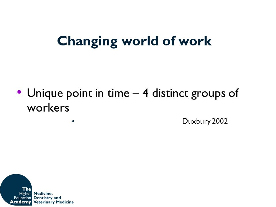 Changing world of work Unique point in time – 4 distinct groups of workers Duxbury 2002