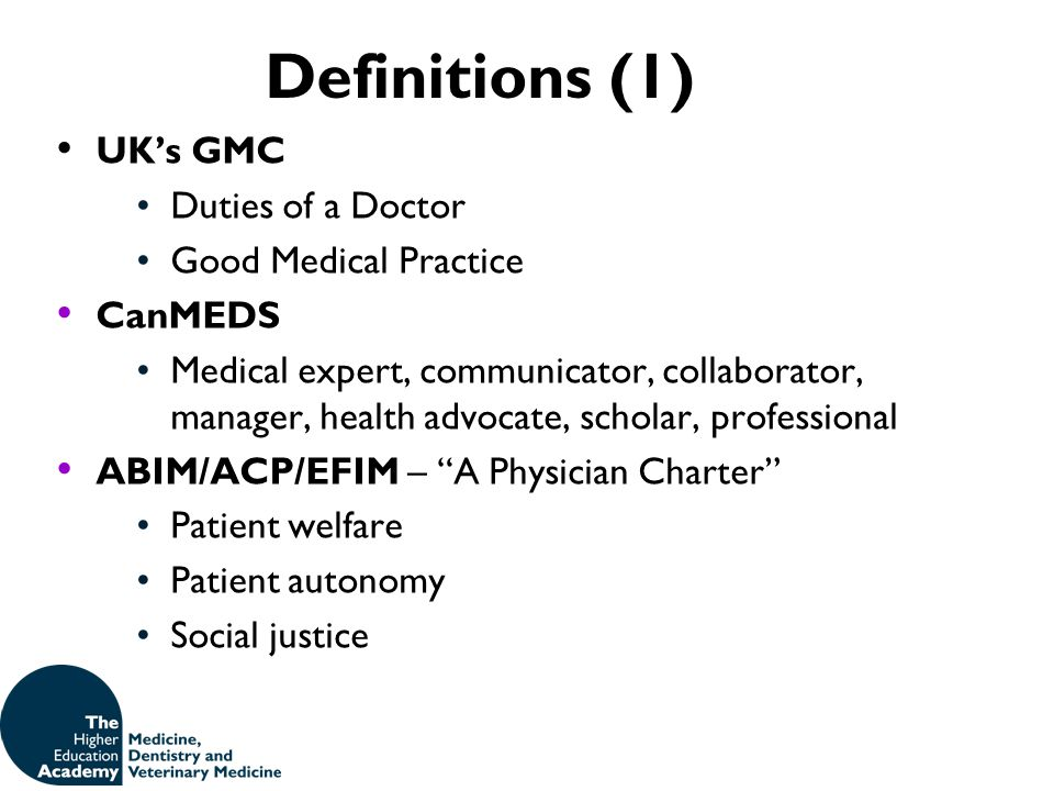 Definitions (1) UK's GMC Duties of a Doctor Good Medical Practice