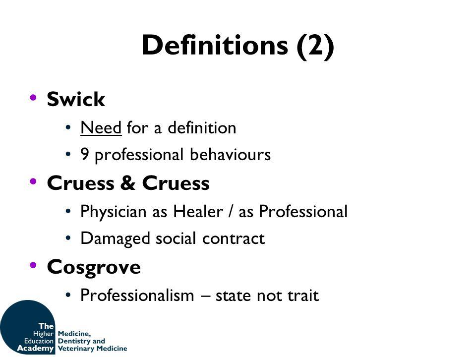 Definitions (2) Swick Cruess & Cruess Cosgrove Need for a definition